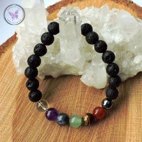 Lava Stone Essential Oil Diffuser Chakra Healing Bracelet